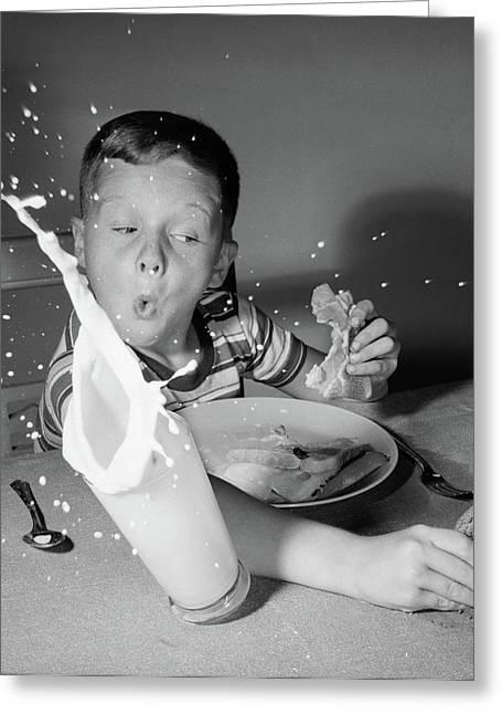 1960s Boy Having Lunch Knocking Greeting Card