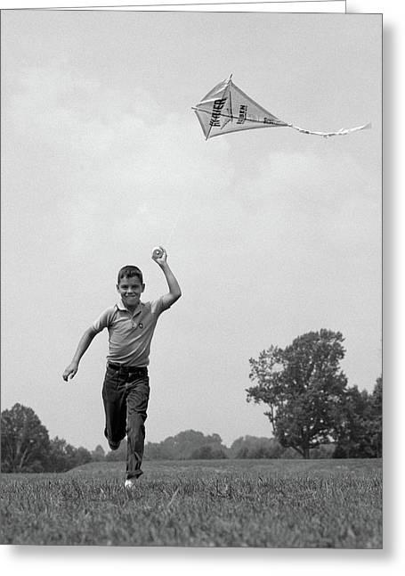 1960s Boy Running Flying Kite Greeting Card