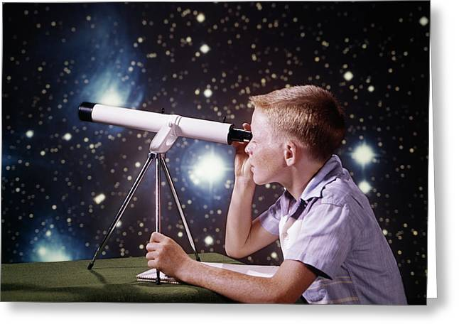 1960s Boy With Telescope On Table Greeting Card