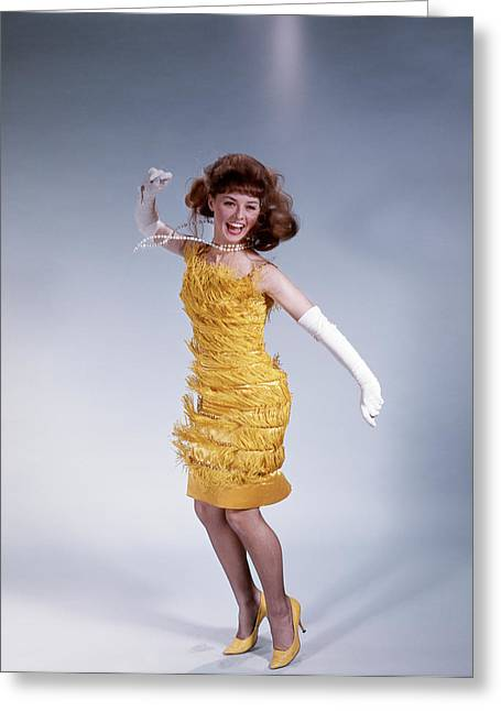 1960s Brunette Woman In Fringed Dress Greeting Card