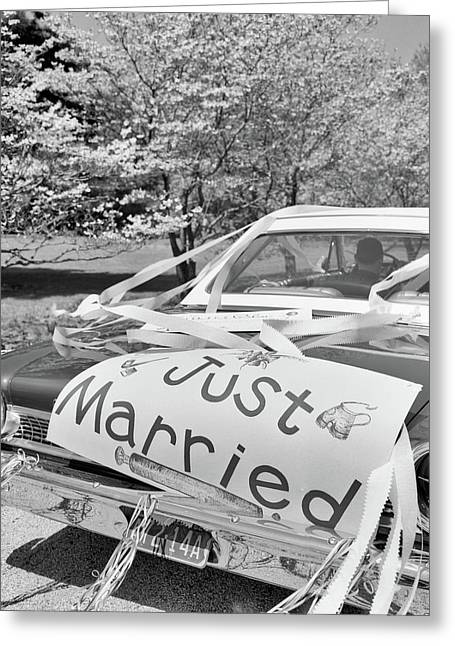 1960s Car Just Married Sign On Trunk Greeting Card
