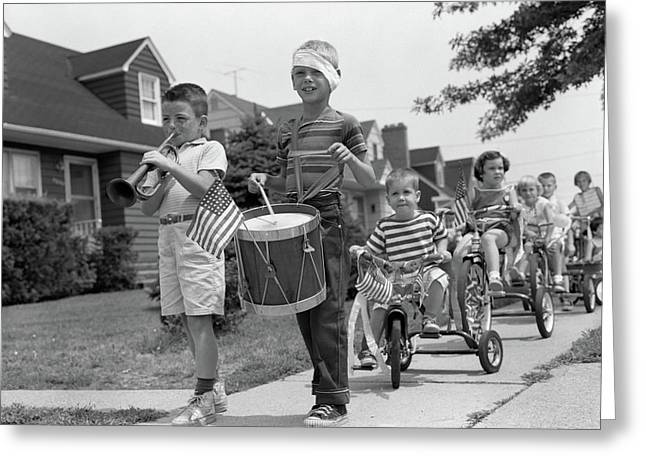 1960s Children In Fourth Of July Parade Greeting Card