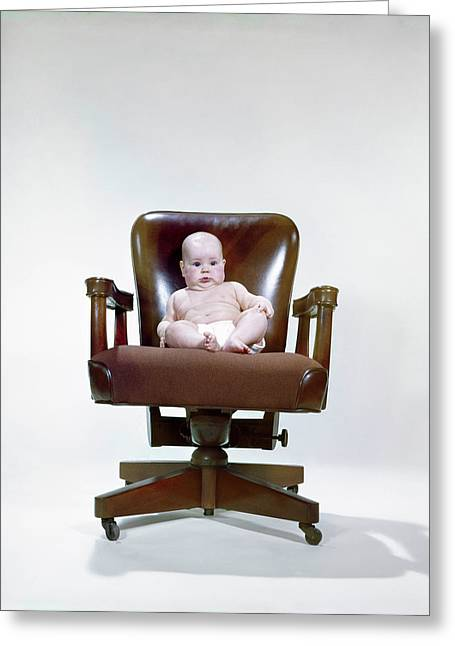 1960s Chubby Baby In Diaper Sitting Greeting Card