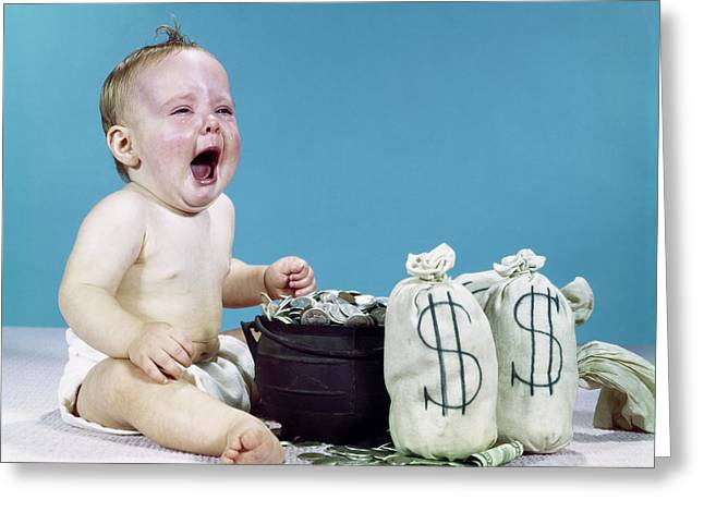 1960s Crying Shouting Baby With Money Greeting Card