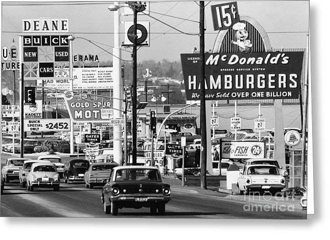 1960s Denver Scene Greeting Card by Myron Wood