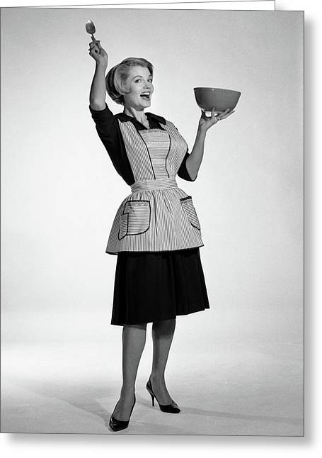 1960s Excited Woman Housewife In Apron Greeting Card