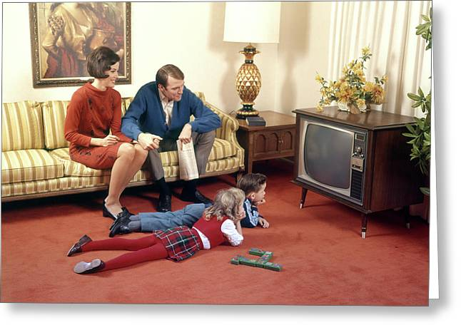 1960s Family In Living Room Watching Tv Greeting Card