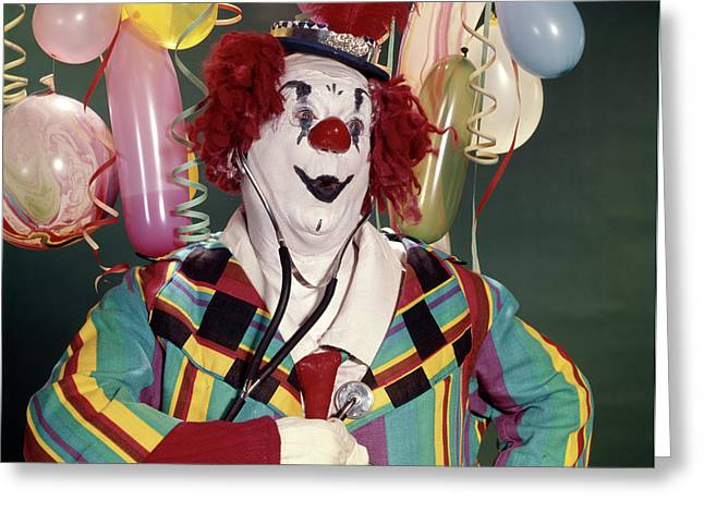 1960s Fat Overweight Clown Checking Greeting Card