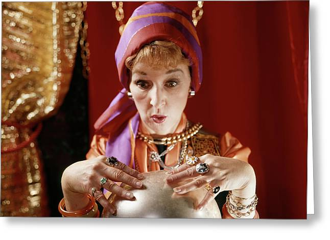 1960s Female Gypsy Fortune Teller Greeting Card