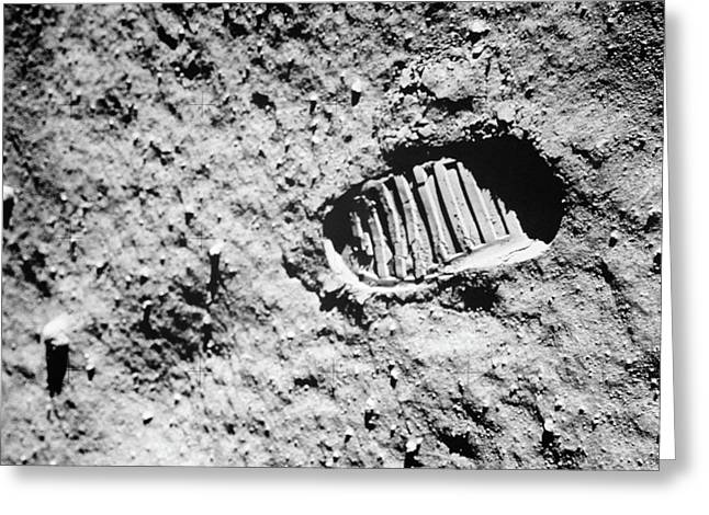 1960s Footprint Of First Step On Moons Greeting Card