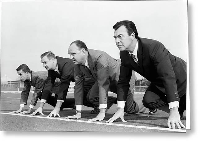 1960s Four Businessmen On The Starting Greeting Card