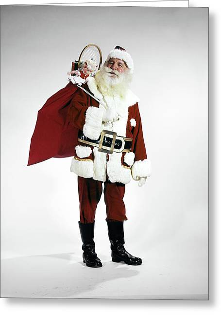 1960s Full Length Portrait Of Santa Greeting Card