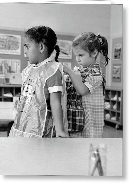 1960s Grade School Girl In Classroom Greeting Card