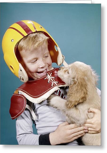 1960s Happy Laughing Boy In Football Greeting Card