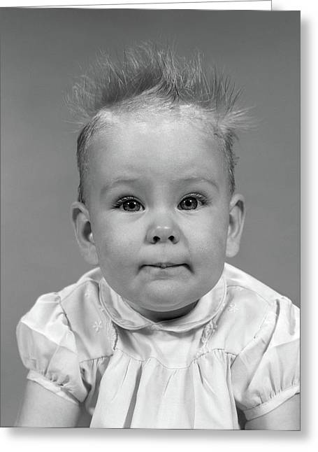 1960s Head On Portrait Of Baby Girl Greeting Card