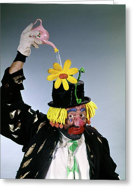1960s Hobo Style Clown Watering Daisy Greeting Card