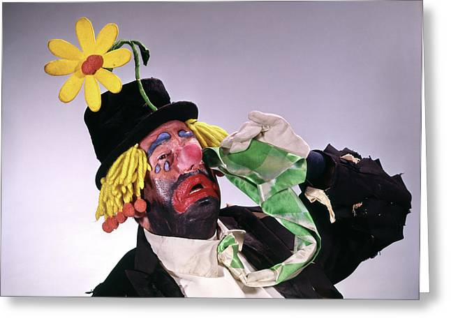 1960s Hobo Style Clown Wearing Top Hat Greeting Card