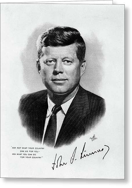 1960s Jfk Official White House Portrait Greeting Card