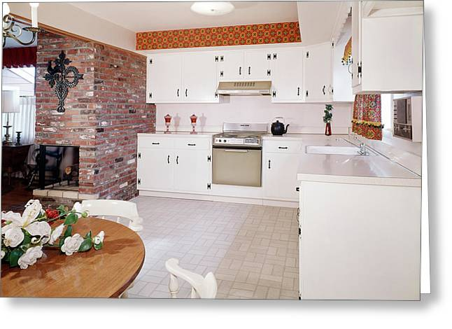 1960s Kitchen Interior With Brick Wall Greeting Card