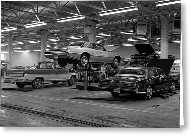 1960s Large Garage With Pickup & Cars Greeting Card