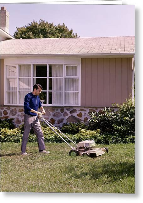 1960s Lawnmower Cutting Grass Yard Work Greeting Card