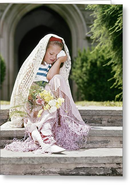 1960s Little Girl Dressed As Bride Greeting Card