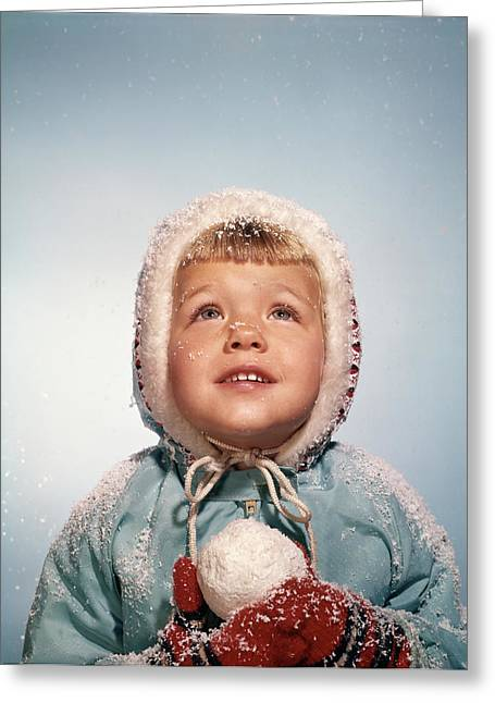 1960s Little Girl Holding Snow Ball Greeting Card