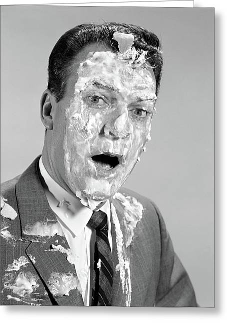 1960s Man Face Shoulders Pie Greeting Card