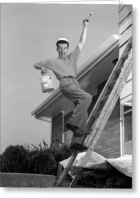 1960s Man Falling Off Of Ladder While Greeting Card