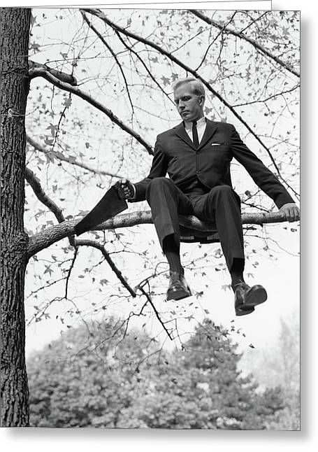 1960s Man In Tree Branch Limb Greeting Card
