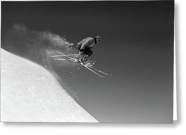 1960s Man Skiing Downhill Jumping Greeting Card