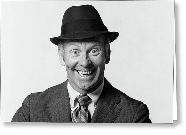 1960s Man Smiling Wearing Suit And Hat Greeting Card