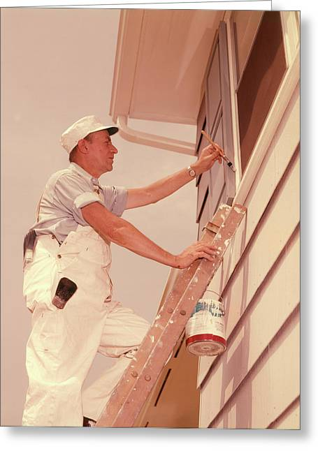 1960s Man Up Ladder Painting Window Greeting Card