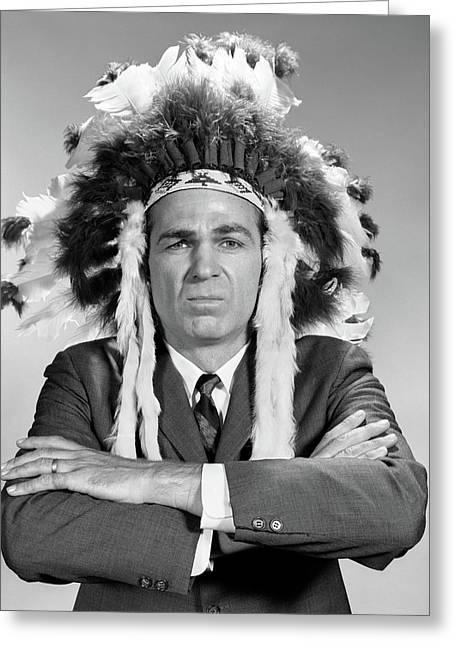 1960s Man Wearing Native American Greeting Card