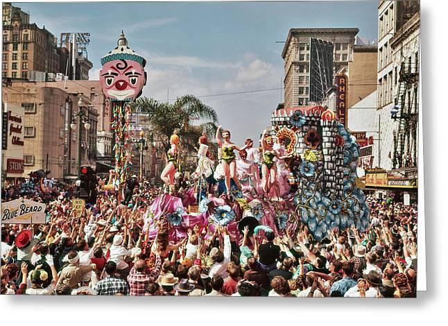 1960s Mardi Gras Rex Parade On Canal Greeting Card