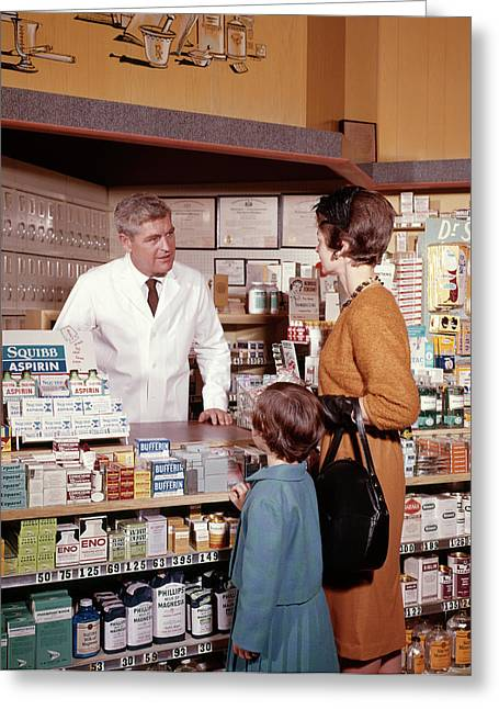 1960s Mother And Daughter In Pharmacy Greeting Card