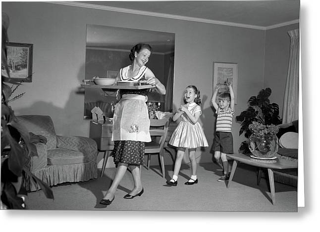 1960s Mother Walking With Tray Of Snack Greeting Card