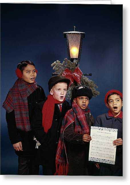 1960s Multi-ethnic Group Juvenile Boys Greeting Card