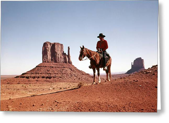 1960s Navajo Man On Horse Monument Greeting Card