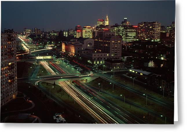 1960s Night View Vine Street Expressway Greeting Card