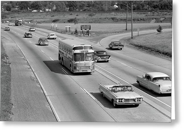 1960s Overhead Of Busy Four Lane Greeting Card