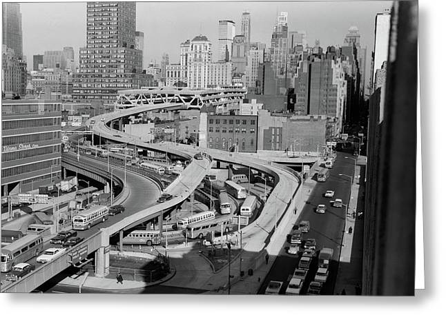 1960s Overhead Of Port Authority Greeting Card