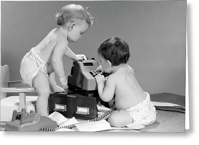 1960s Pair Of Babies Around Adding Greeting Card