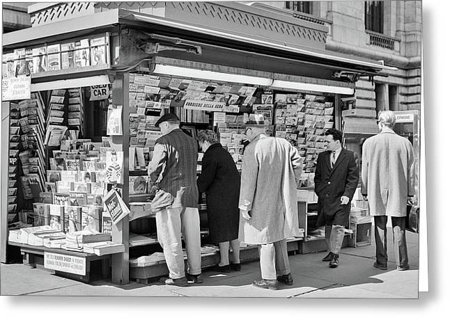 1960s People At Newsstand 42nd Street Greeting Card
