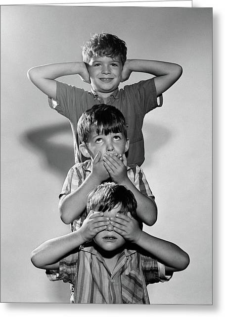 1960s Portrait Of 3 Boys Miming Hear Greeting Card