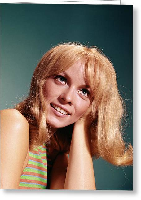 1960s Portrait Of Blond Woman Looking Greeting Card