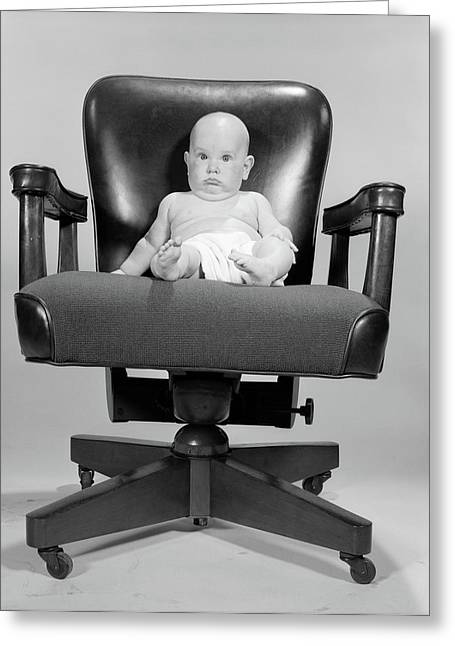 1960s Portrait Of Chubby Bald Baby Greeting Card