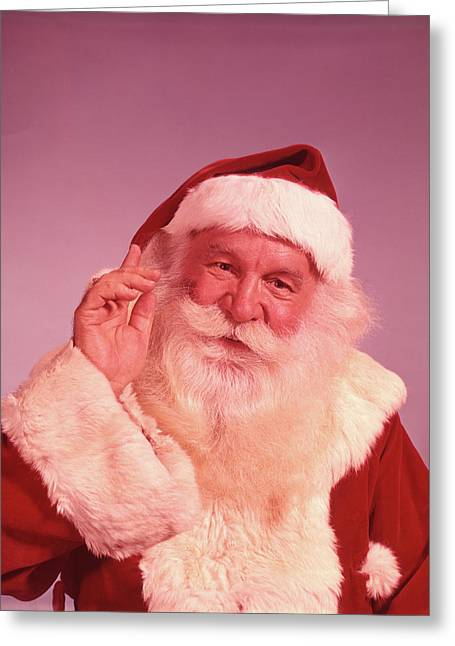 1960s Portrait Of Smiling Santa Claus Greeting Card