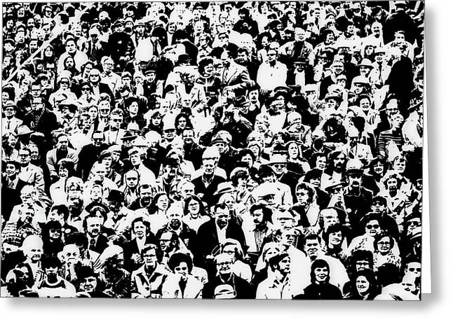 1960s Posterization Of Large Crowd Greeting Card