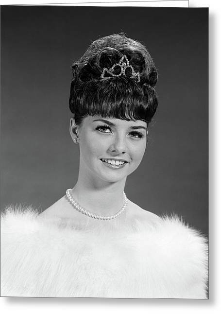 1960s Pretty Young Woman Wearing Tiara Greeting Card